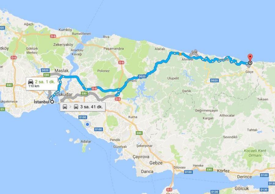Ağva İstanbul arası harita